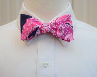 Men's Bow Tie, hot pink navy, Coco Safari, groomsmen gift, wedding party bow tie, neon pink bowtie, groom bow tie, Lilly bow tie, preppy tie