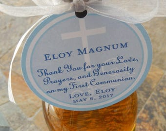 """3"""" Custom First Communion or Baptism Thank You Favor Tags - For Wine Bottles - Favor Boxes - Party Favors - (30) personalized prayer tags"""