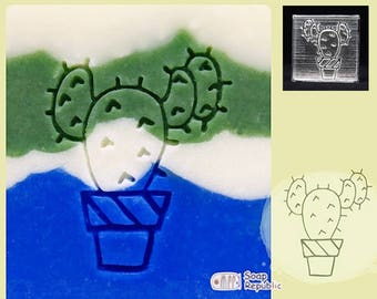SoapRepublic Cactus Flowers 3 Acrylic Soap Stamp / Cookie Stamp / Clay Stamp