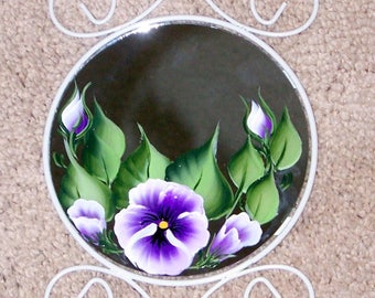 White metal wall mirror hand painted pansy