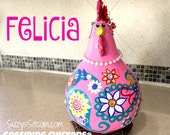 chicken, hen, rooster, gourd, gourd art, paisley, painted gourds, pink, teal, flowers, funny