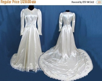 SALE 25% off - Satin Wedding dress - Beaded neckline, Lace Edging - full train - 1940s