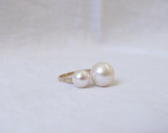 Double white pearl ring