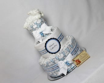 Lamb Baby Diaper Cake Boys Sheep Shower Gift Centerpiece