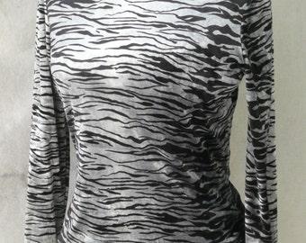 Vintage Betsy Johnson Turtleneck in Black and Silver Zebra print