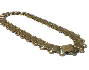 Monet Etruscan Revival Necklace Gold Tone Bookchain with Etched Flowers - Vintage Jewelry 15""