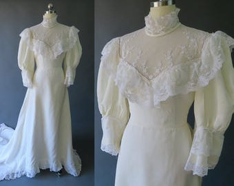 1960s Victorian Style Wedding Dress / Trained or Bustled Vintage Bridal