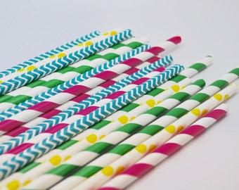 MOANA - QTY 25 - Paper Straws - Paper Party Straws - Girls Birthday - Moana Birthday - Luau