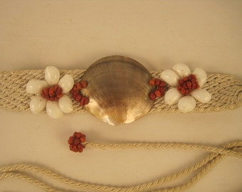 Vintage Rope and Shell Belt 1980's