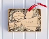 Angel Ornament: Personalized Name Baby's First Christmas 2016 Wooden Ornament, Boy or Girl