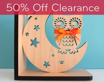 SALE! CLEARANCE 50% OFF! Night Owl Wooden Bookend Baby Nursery Kids Decor