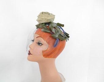 Vintage rose hat, green with leaves, blue veil