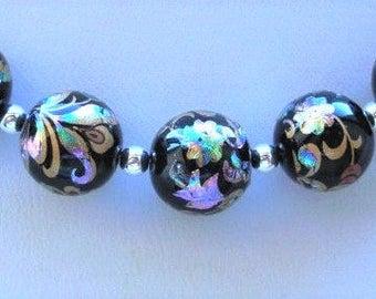 NEW 5 Japanese Tensha Beads Arabesk on Black 10 MM