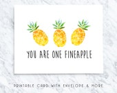 pineapple printable, valentines card, fruit pun card, fineapple card, funny valentines, food pun card, pineapple download