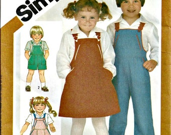 Simplicity Pattern 6228 Child's Overalls, Sundress, Jumper, Shirt Pattern 1980s Size 4