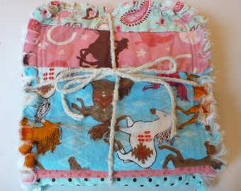 Baby Girl Burp Cloth Set of 3 - Retro Cowgirl Western Rodeo Rider Horses in Dusty Pink Turquoise Aqua Chenille Rag Quilted