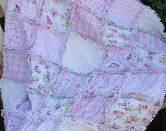 Baby Girl Rag Crib Quilt - Shabby Pink Roses Pretty Birds and Plaid Zoeys Garden with White Minky Ready to Ship