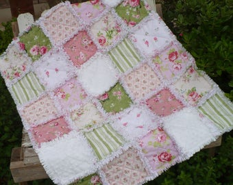 Sweet Baby Girl Rag Crib Quilt - Shabby Pink Roses Sage Green and White Minky Ready to Ship