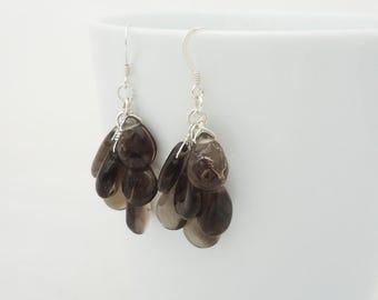 Smoky Quartz Earrings, Cluster Smoky Quartz Earrings, Gemstone Earrings, Brown Earrings, Dangle Earrings
