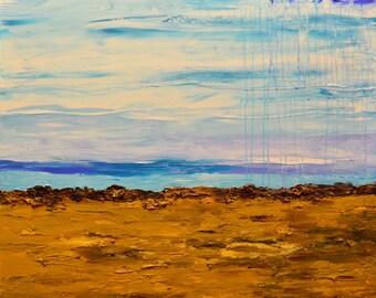 "ABSTRACT painting on canvas  blue brown beach ocean original textured large acrylic modern art 24x30"" artist Mariana Stauffer Malorcka"