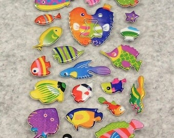 Mixed Cute Puffy Glitter Fishes Stickers