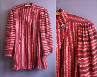 1940s tweed stripe swagger coat art deco coat 40s coat red tweed coat 1930s coat smile pockets 1940s coat 40s coat vintage red coat