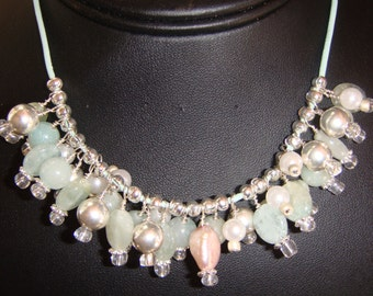 Peridot, Silver and Pearls Charm Bubble Necklace on Seafoam Green Leather