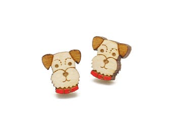 Schnauzer earrings ~ laser cut dog stud earrings