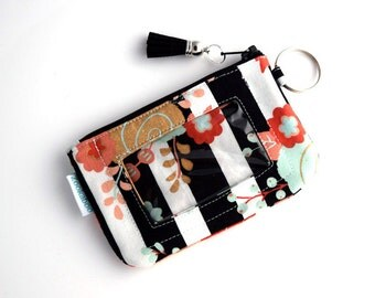 Handmade Card Wallet - End of Year Teacher Gift for Her - ID Card Holder - Floral Wallet - Zipper Coin Pouch - Zookaboo