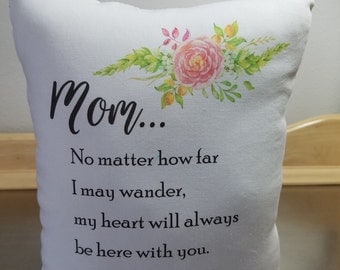 Pillows Mothers Day gift for mom poplin throw pillow mother birthday gift I love you mom cushion mommy gift mama white pink bedroom decor