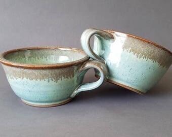 Set of 2 or 4 Handled Deep Sides Soup and Cereal Bowls Chowder Mug Handles Green Bronze Speckle