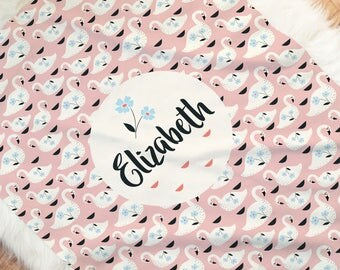 Swan Baby Blanket, pink fleece baby swaddle, available with and without a name