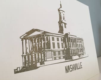 Nashville Art Print - Tennessee State Capitol Building 5 x 7