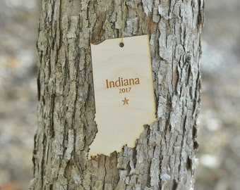 Natural Wood Indiana State Ornament WITH 2017