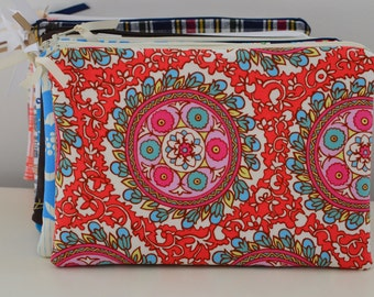 Zipper Pouch in Coral Medallion - cosmetic bag travel case diaper bag organizer medium pouch flowers ipad mini kindle toiletry gift set