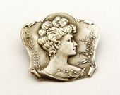 Antique French silver plated art nouveau lady brooch Bonheur/ Happiness