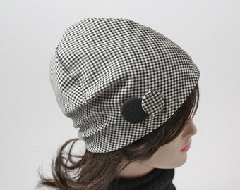 Wool checkered hat black and white