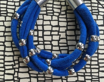 Bright Cobalt Blue Reclaimed Fabric Bracelet