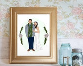 Custom Portrait Illustration, Couple's Portrait, Anniversary Gift, Love Portrait, Personalized Portrait, Wedding Portrait, First Anniversary