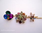 Vintage earring hair grips - Colorful multicolor bold rhinestone gem star flower rivoli unique jeweled embellish decorative hair accessories