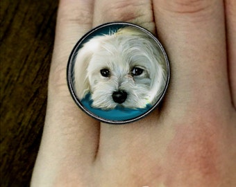 MALTESE DOG Statement RING Jewelry Art Pet Gift Antique Bronze Brass Silver Fashion Adjustable Cabochon