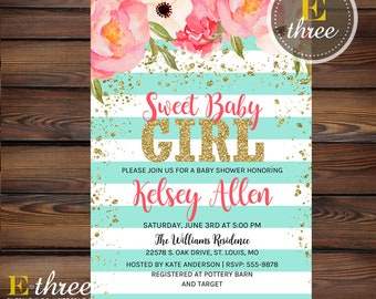 Gold Glitter Baby Shower Invitation, Baby Girl Shower Invite, Pink, Aqua, and Gold - Floral Watercolor Girl's Shower Invitations
