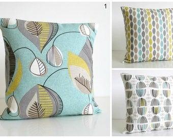 10x10 Cushion Cover, Aqua Throw Pillow Cover, Pillow Sham, Pillowcase, Decorative Pillow Cover - Aqua Collection