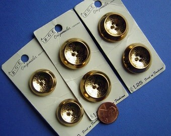Vintage Buttons Gold Metal 1960s Made in West Germany DESTASH Carded lot of 6 matching