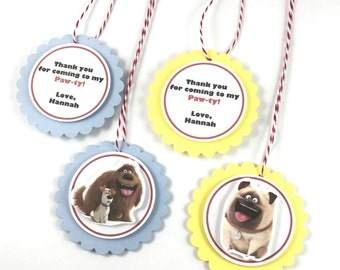 The Secret Life of Pets Party Favor Tags