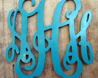 Wooden Monogram, College Dorm Decor, Door Hanger, Nursery Monograms, Wood Wall Letters, Vine Font Letters, Unpainted Or Painted Mono