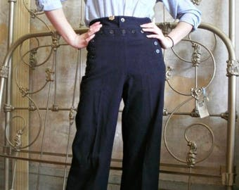 Vintage 1950's navy sailor military wide leg pants size 27/extra small/small