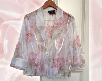 90s Pink White Iridescent Floral Sheer White Blazer with Rhinestone Closure size 10 Golden Girls Blanche Vibes