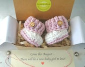 Baby Girl Gender Reveal, New Baby Gift, BOOTIES IN A BOX® Cuffed, Optional Buttons, Newborn Baby Booties,  Custom Message, Ready To Ship