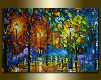 Original Textured Palette Knife Landscape Painting Oil on Canvas Contemporary Modern Art Rainy Night 20X30 by Willson Lau